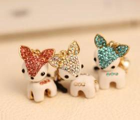 High Quality Rhinestone Deer Dust Proof Plugy Dust Plug 3.5mm Headphone Jack Plug for iPhone Samsung Blackberry iPad HTC